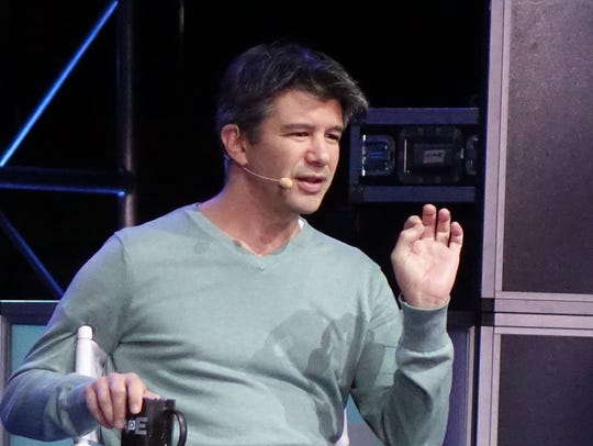 Uber CEO Travis Kalanick speaking at the Wall Street