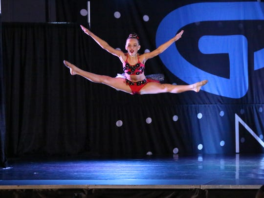 Olivia Avery dancing at a national competition in Ocean