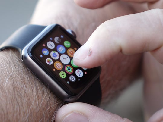 Opening an app on the Apple Watch.