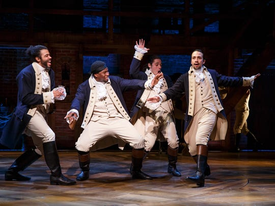 "From left, Daveed Diggs, Okieriete Onaodowan, Anthony Ramos and Lin-Manuel Miranda in a scene from the Broadway musical ""Hamilton"" at the Richard Rodgers Theatre."