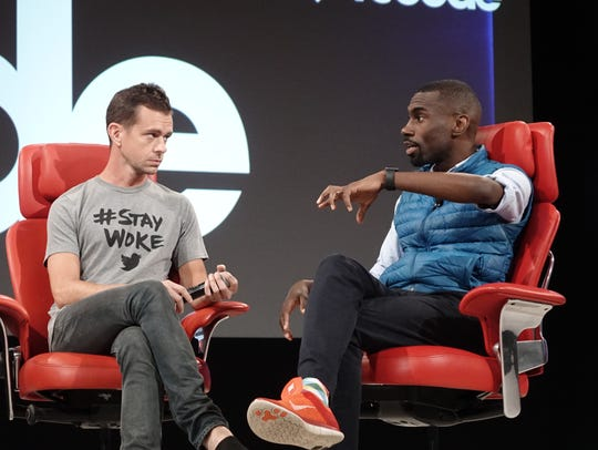 Twitter CEO Jack Dorsey, left, and civil rights activist