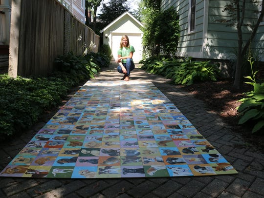 Artist Weatherly Sroh displays the collage that she's