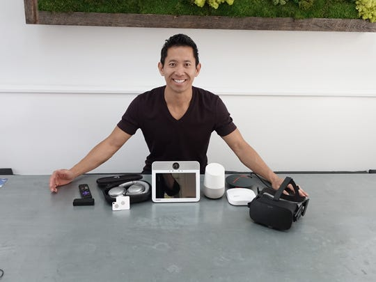 Gadget freak Peter Pham at home with an Oculus, Google