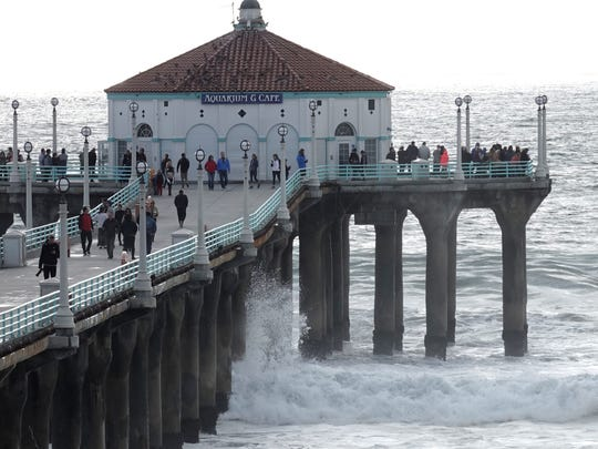 The Manhattan Beach Pier the day after the big Los Angeles storm