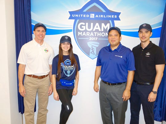 The Guam Visitors Bureau is a gold sponsor of the United Airlines Guam Marathon, which is set for April 9. From left: Ben Ferguson, United Airlines Guam Marathon event director and founder; Carmela Tyquiengco, United Airlines Guam Marathon spokeswoman; Sam Shinohara, United's managing director of Operations Asia/Pacific; Nathan Denight, GVB president and CEO.