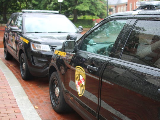 The two Maryland State Police Ford Explorers outfitted