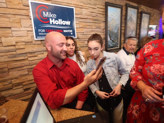 Cape Coral mayoral candidate Mike Hollow watches results