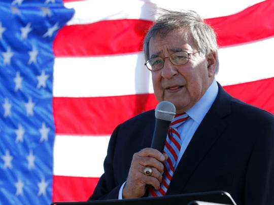 Former Defense Secretary Leon Panetta speaks during a ceremony honoring veterans in the Salinas High School parking lot before the start of the seventh annual Veterans Day Parade on Saturday, November 11, 2017 in Salinas Vernon McKnight/for The Californian