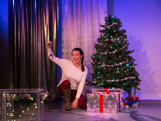 "Maria Buchanan stars in the one-woman show ""The 12 Dates of Christmas"" at NC Stage Co."