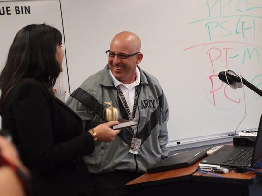 Mariner High School JROTC teacher Steve Jaramillo is a Golden Apple winner on March 9, 2018.