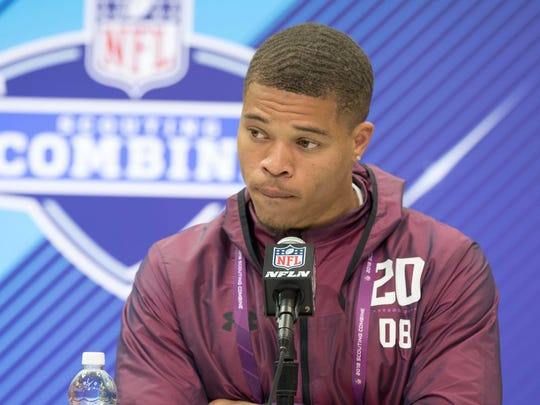 Weber State Wildcats defensive back Taron Johnson speaks to the media during the 2018 NFL Combine at the Indianapolis Convention Center.