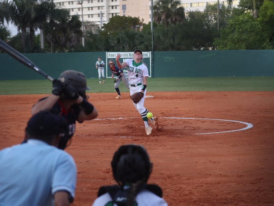 Fort Myers High's Hannah Perkins fires a pitch against
