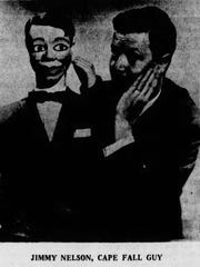 Ventriloquist Jimmy Nelson with one of his dummies, Humphrey Hisgsbye, in The News-Press on Aug. 2, 1968.