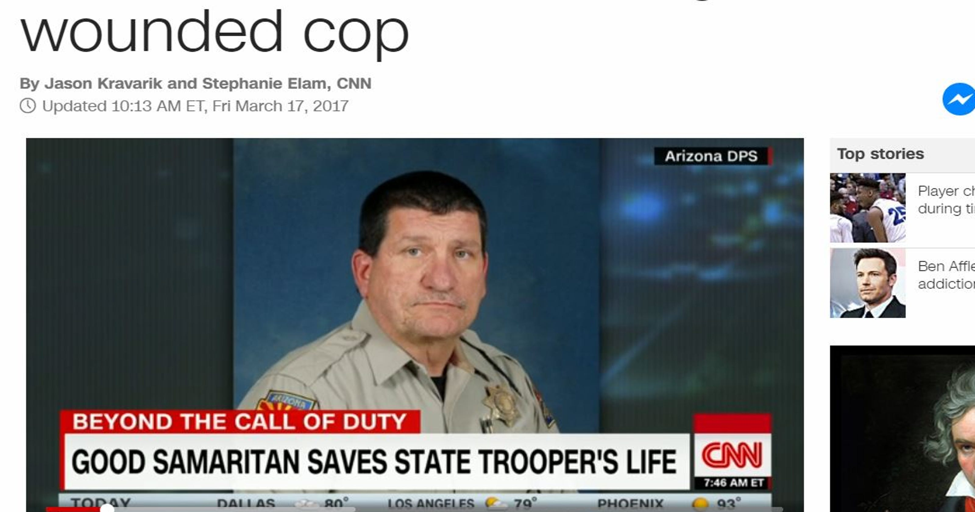 I probably wouldn't be here': Arizona DPS trooper saved by