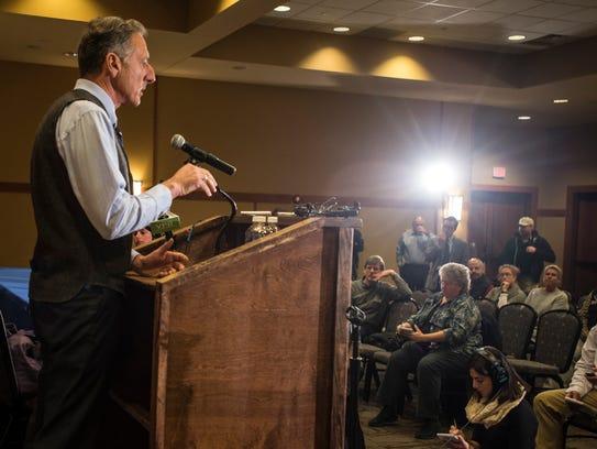 Gov. Peter Shumlin addresses media at a news conference
