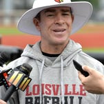 Louisville head baseball coach Dan McDonnell speaks during a press conference before the start of practice Tuesday at Jim Patterson Stadium. Louisville opens its NCAA super regional against Cal State Fullerton on Saturday.