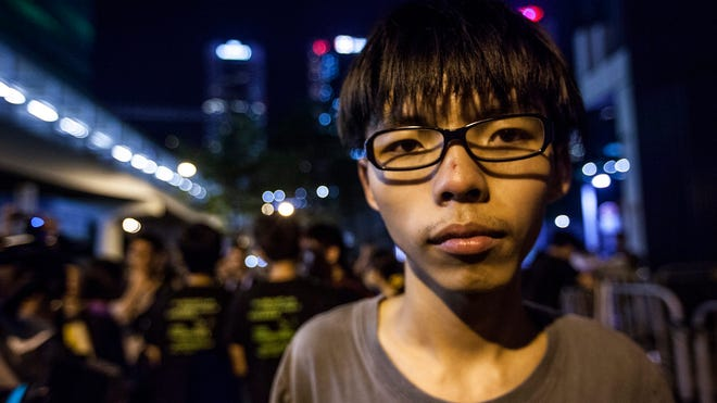 Joshua Wong is seen outside Hong Kong's government offices on Sept. 29.