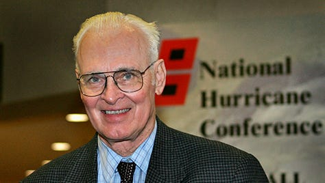 Dr. William Gray. shown here in 2005, is the dean of seasonal hurricane forecasting.