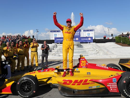 Ryan Hunter-Reay celebrates after winning Sunday.