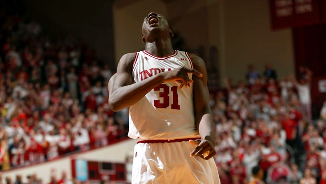 Indiana center Thomas Bryant (31) reacts to a score late in the second half against Minnesota in Bloomington, Ind., Jan. 30, 2016. Indiana won 74-68.