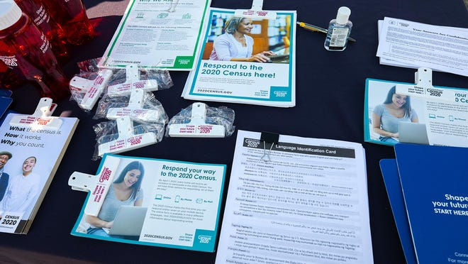 Information available at the 2020 Census table in Redondo Beach Drive  Des Moines for people filling out their census forms Friday, September 4, 2020.