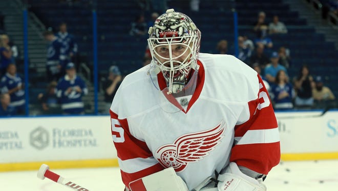 Detroit Red Wings goalie Jimmy Howard warms up for Game 1 against the Tampa Bay Lightning on April 13, 2016.