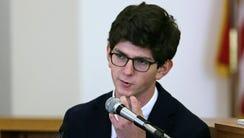 Owen Labrie testifies during his trial at Merrimack