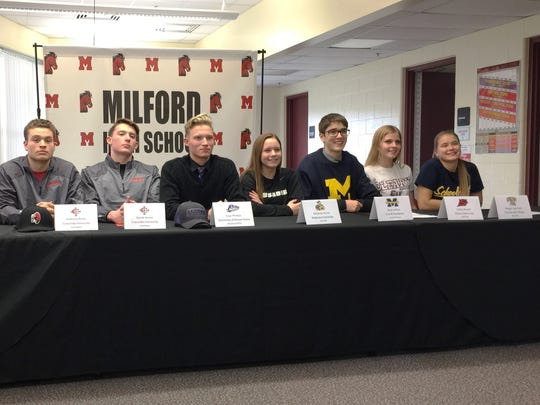 Among the latest college commits from Milford High include (from left) Gabe Bettley, Rebekah Holbrook, Anthony Perez, Derek Horne, Isaac Phillips, Melanie Porter, Reid Sellers, Cathy Sharef and Megan Swirczek.