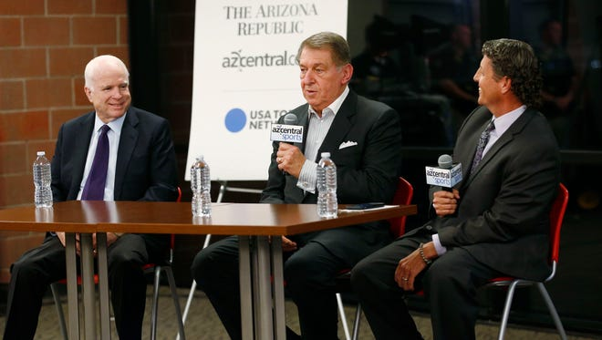 azcentral sports' Dan Bickley (right) interviews U.S. Sen. John McCain (left) and Valley sports legend Jerry Colangelo during an event sponsored by The Arizona Republic and azcentral.com at Grand Canyon University in Phoenix, Ariz., on Friday, February 19, 2016.