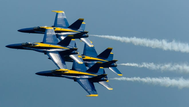 The Blue Angels perform during the Ocean City Air Show on Sunday afternoon.