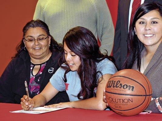Matt Hollinshead — Current-Argus Lady Falcons senior forward Samantha Franco signed her letter Thursday to play basketball at University of the Southwest in Hobbs.