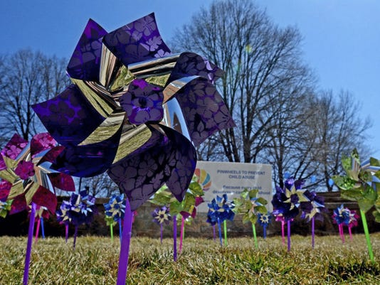 Three pinwheel gardens have been set up in York as part of Child Abuse Awareness Month.