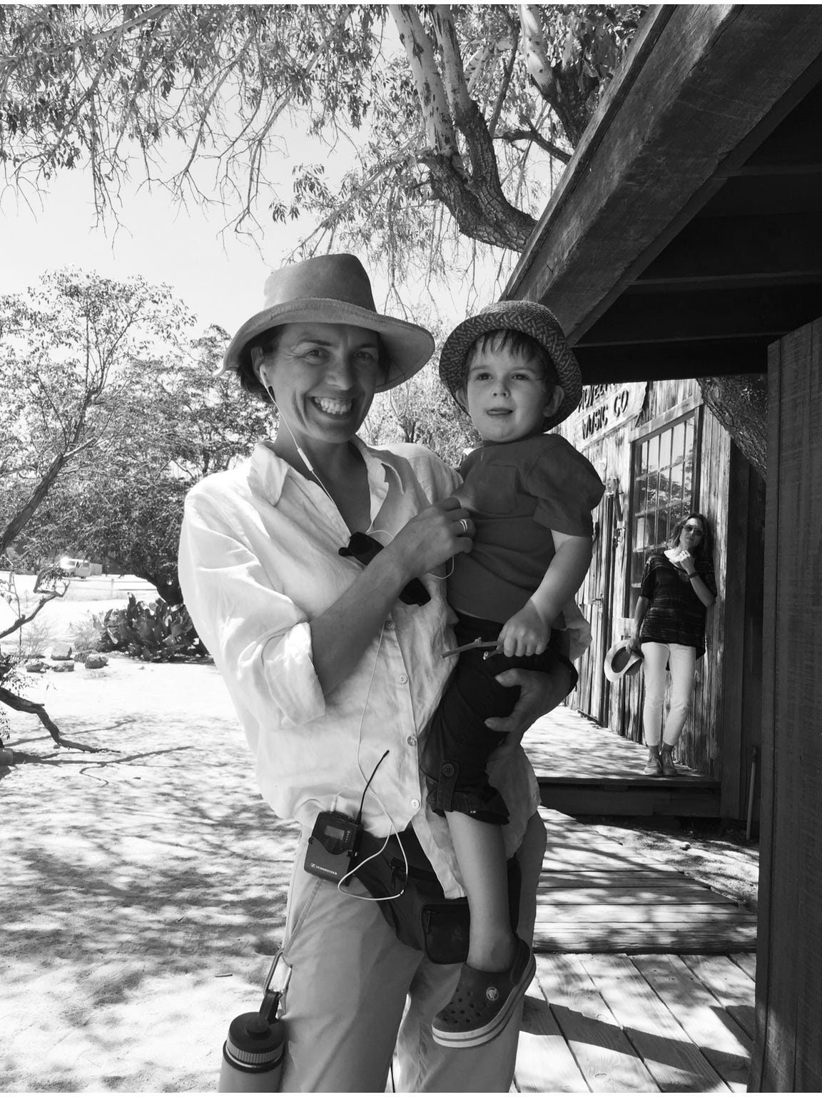 Writer/director Diane Bell takes a play break with her 3-year-old son, Tenny, who has accompanied the crew for a month of filming in Joshua Tree.