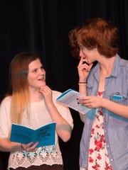 """Keily Wolff, left, and Madison Garrett rehearse """"Murder at the Malt Shop"""" last month at the Mar-Va Theater in Pocomoke. Tickets are still available for the play running Friday through Sunday, May 13-15, at the theater."""
