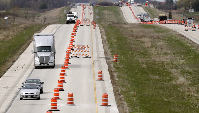 Traffic is reduced to single lanes along a 10.6 mile stretch of Interstate 43.