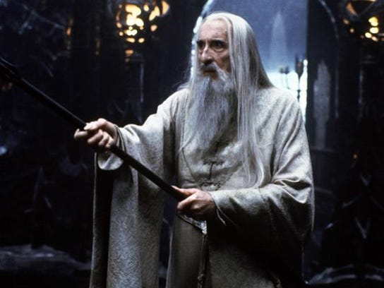 Christopher Lee appears as the wizard Saruman in a