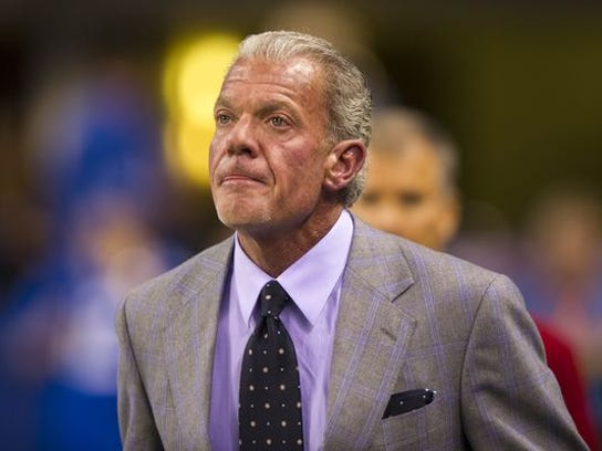 Jim Irsay, owner of the Indianapolis Colts, comes in