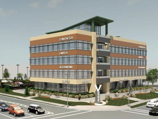 An artist's rendition of a possible four-story office