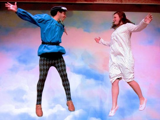 Peter Pan (Waylon Johnson) and Wendy (Emily Boyer)