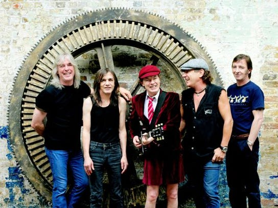 Members of AC/DC, left to right: Cliff Williams, Malcolm