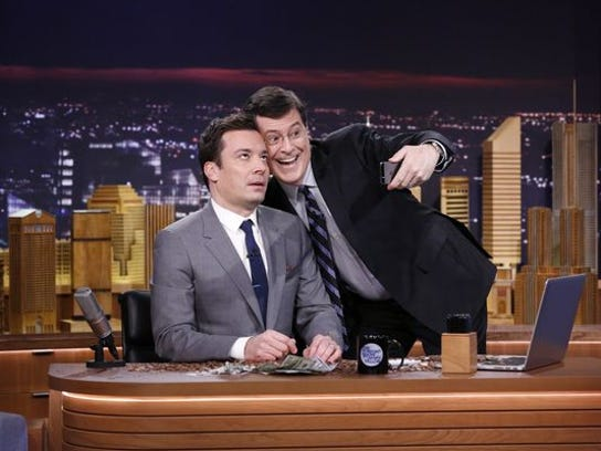 """Stephen Colbert stopped by """"The Tonight Show with Jimmy Fallon"""" to take a selfie on set."""
