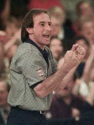 October 1998: Norm Duke celebrates as he rolls a strike
