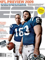 Peyton Manning and Jeff Saturday on the cover of ESPN Magazine Sept. 07, 2009.