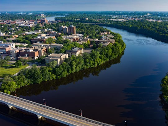 The Mississippi River snakes around St. Cloud State