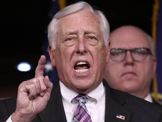 House Minority Whip Steny Hoyer speaks at a press conference on Capitol Hill on March 24, 2017.
