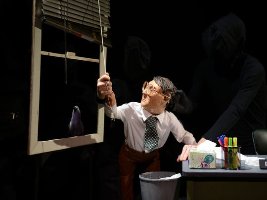 "Frank pulls the blinds in ""The Pigeoning"" at OZ Arts"