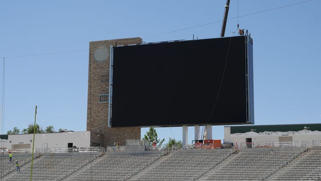 The scoreboard in the south end zone of CSU's new on-campus football stadium has a videoboard that is 84 feet wide by 50 feet high. Those are the same dimensions as a regulation high school basketball court.