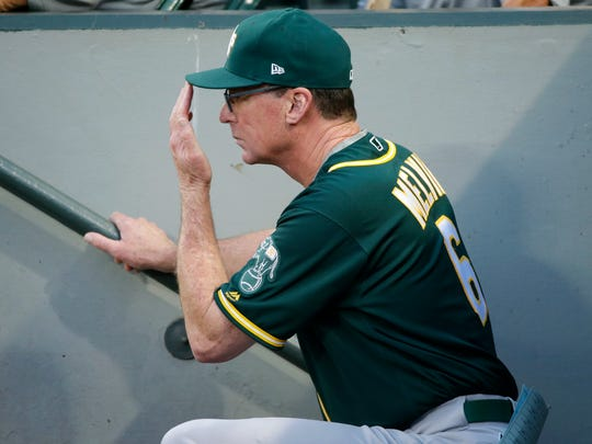Oakland Athletics manager Bob Melvin sends in a signal with Seattle Mariners' Nelson Cruz at the plate during the fourth inning of a baseball game, Thursday, July 6, 2017, in Seattle. (AP Photo/Ted S. Warren)