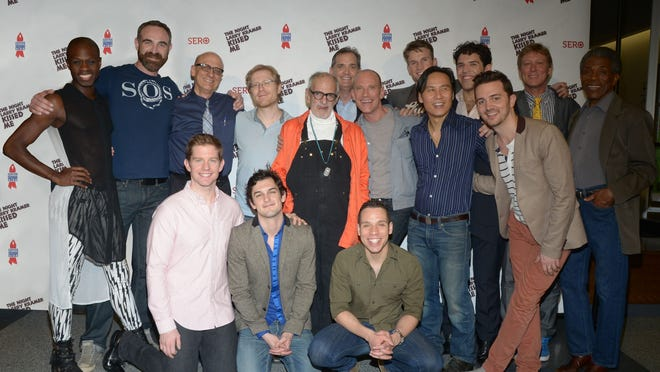 """The company of the 2013 Broadway Cares/Equity Fights AIDS presentation to mark the 20th anniversary of """"The Night Larry Kramer Kissed Me,"""" which will stream Sunday as a benefit for Provincetown Theater, included: from left, front row, kneeling, from left, Rory O'Malley, Wesley Taylor, Robin De Jesus; center row,  Donald C. Shorter, Jr.; Aaron Tone, original producer Tom Viola, Anthony Rapp, AIDS activist Larry Kramer, playwright and Provincetown Theater artistic director David Drake, B.D. Wong and Chad Ryan; and back row, original producer Sean Strub, Claybourne Elder, Brandon Cordeiro, director Robert  LaFosse and Andre DeShields."""