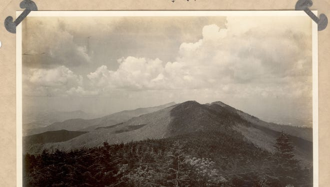 "A landscape from a page in George Masa's ""Mount Mitchell Motor Road"" book project."